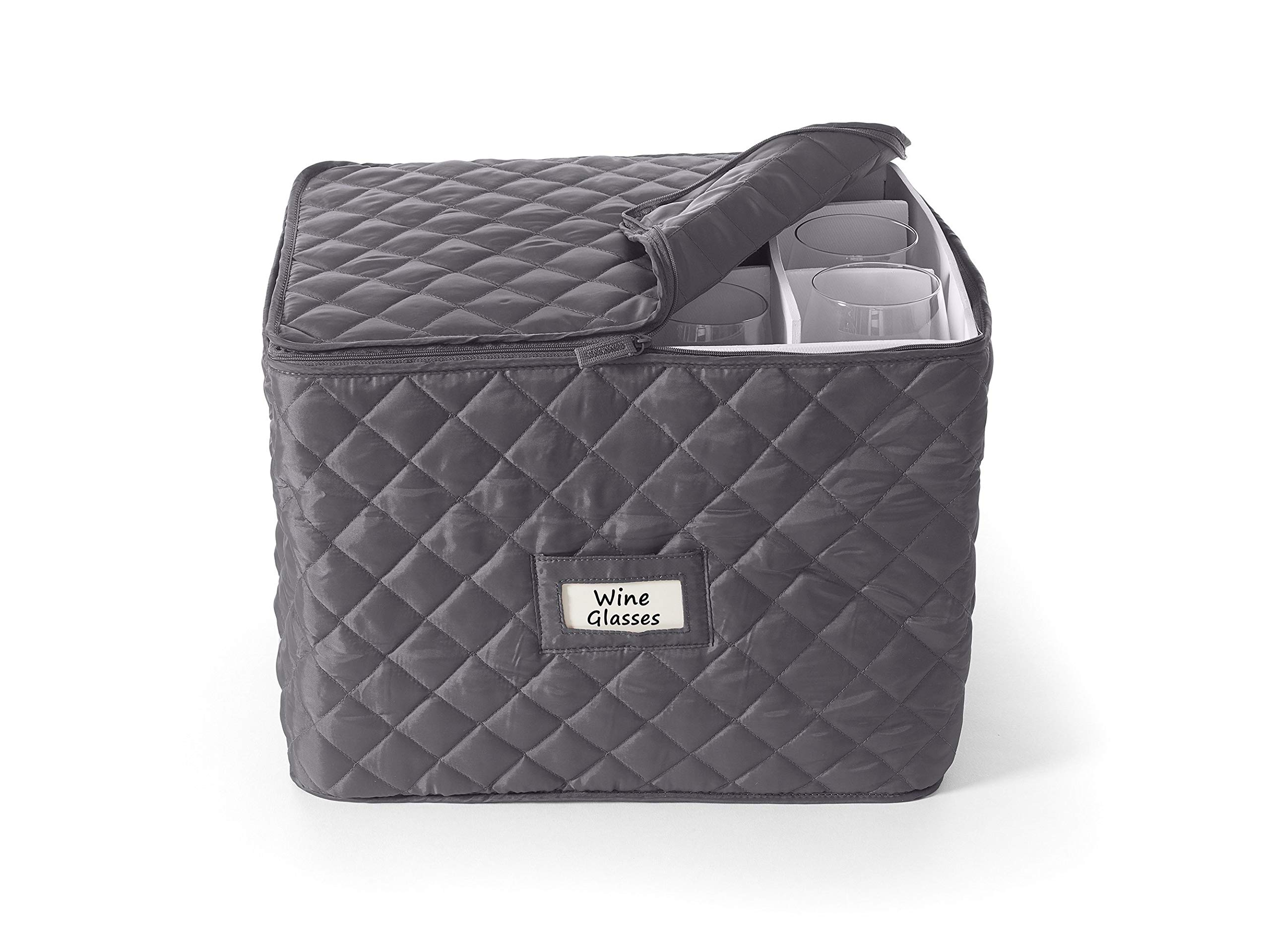 Covermates - Stemware Storage 15L x 12W x 12H - Diamond Collection - 2 YR Warranty - Year Around Protection - Slate by Covermates