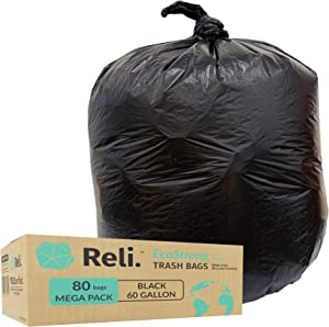Reli. EcoStrong 55 Gallon Trash Bags (80 Count) Eco-Friendly Recyclable - Black Garbage Bags 55 Gallon - 60 Gallon Capacity - Made of Recycled Material - 50 Gal, 55 Gal, 60 Gal Compatible