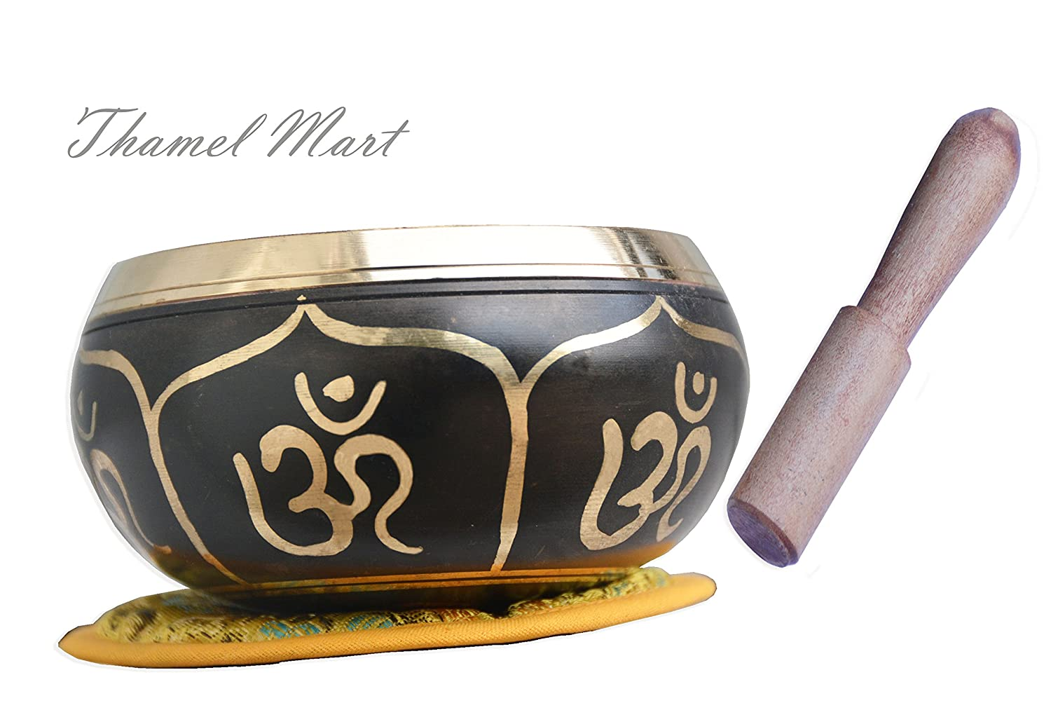 Relaxing Yoga Meditation Om Peace Singing Bowl Cushion and Rosewood Mallet thamelmart tha-4257