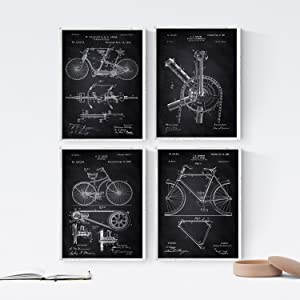 Nacnic Prints Vintage Patents Bicycles 2 - Set of 4 - Unframed 8x11 inch Size - 250g Paper - Beautiful Poster Painting for Home Office Living Room