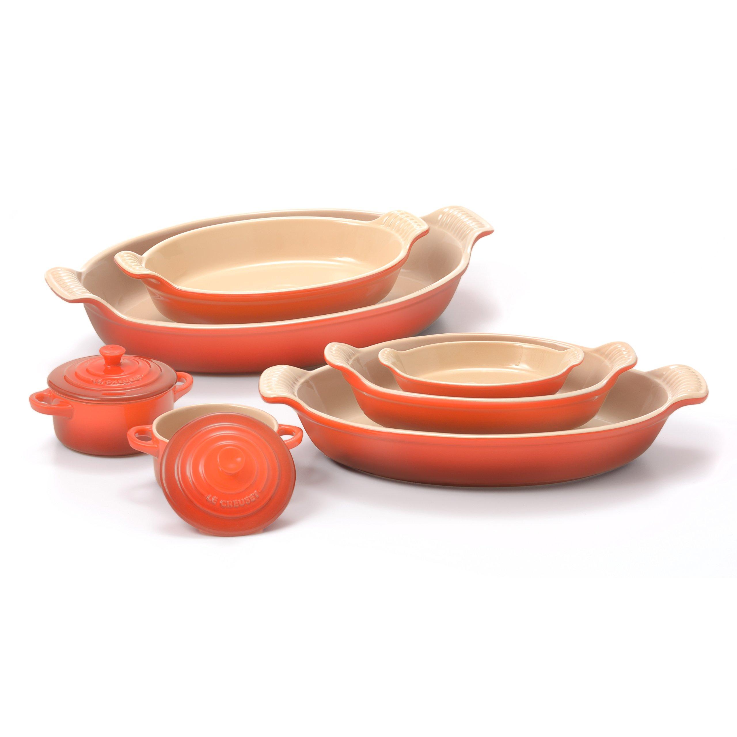 Le Creuset Heritage Flame Stoneware 5 Piece Au Gratin Dish Set with 2 Mini Cocottes