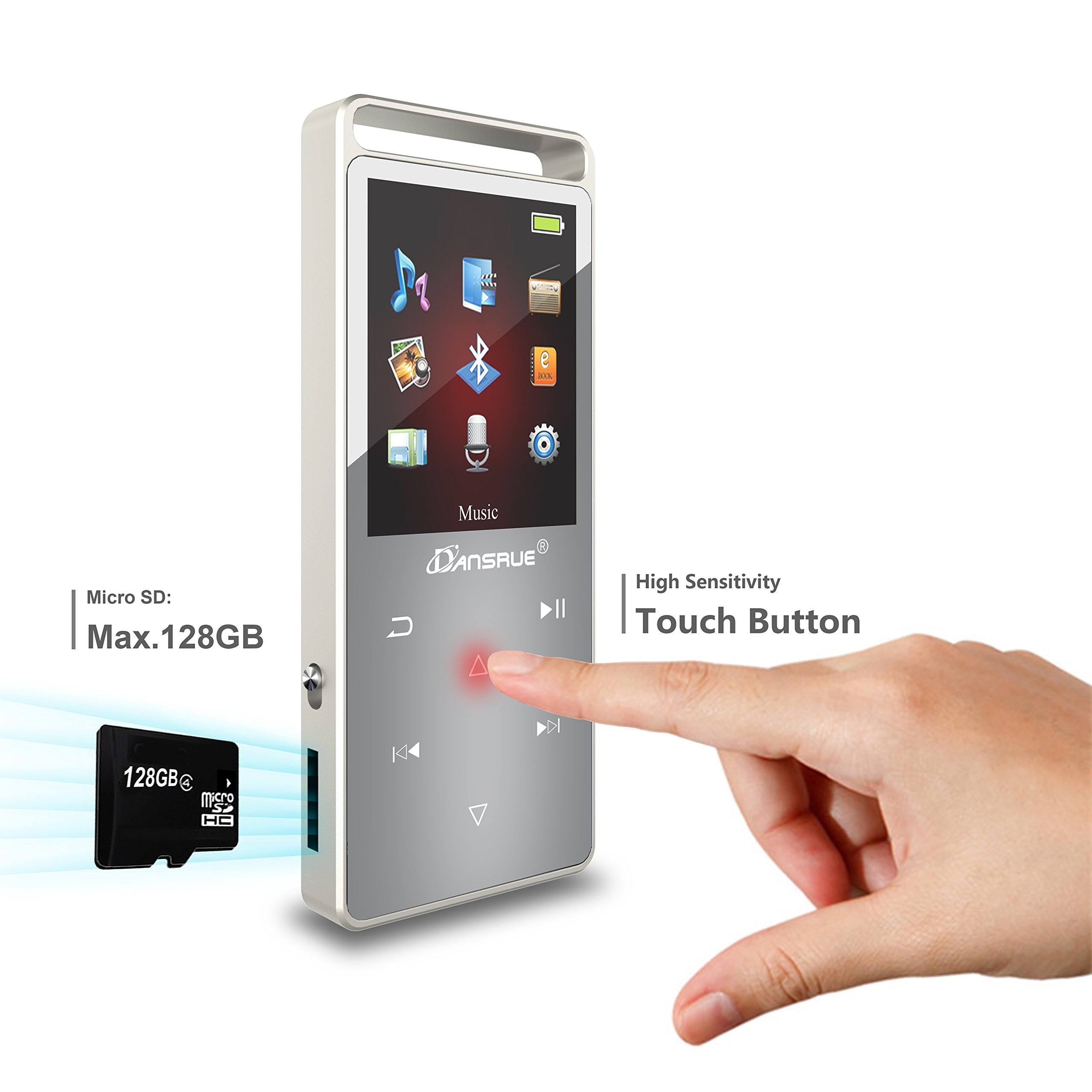 Dansrue Bluetooth MP3 Music Player with FM Radio/ Voice Recorder, Lossless Sound, Metal Touch button , 1.8 Inch Color Screen, 60 Hours Playback by Dansrueus (Image #3)