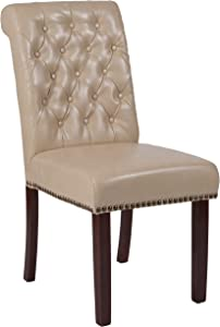 Flash Furniture HERCULES Series Beige LeatherSoft Parsons Chair with Rolled Back, Accent Nail Trim and Walnut Finish