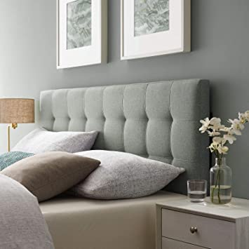 wholesale dealer 295e7 bf5c8 Modway Lily Tufted Linen Fabric Upholstered Queen Headboard in Gray