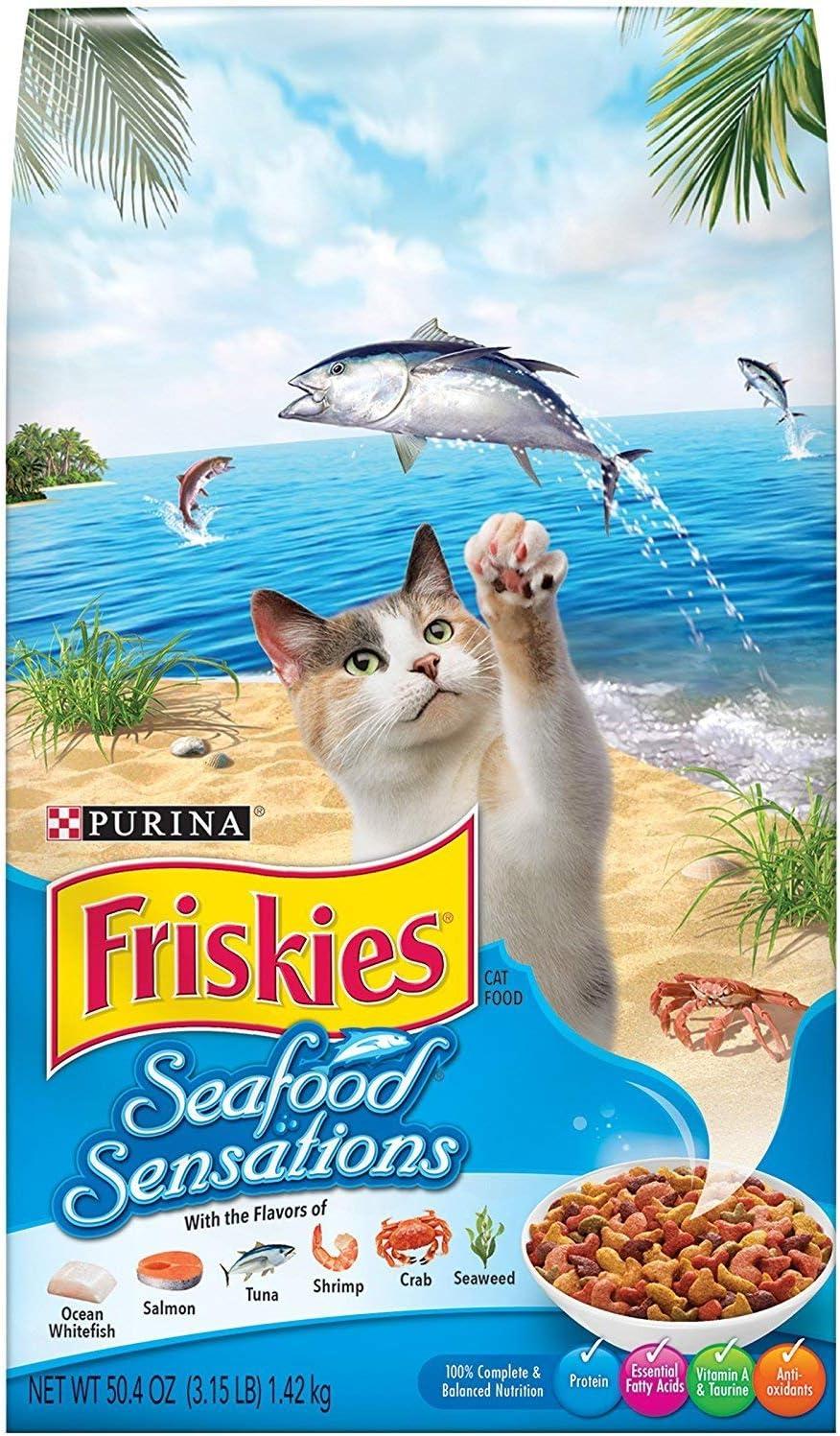 Purina Friskies Seafood Sensations Dry Cat Food, 3.15 lb. Bag (Pack of 2)