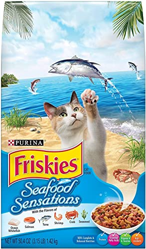 Purina Friskies Seafood Sensations Dry Cat Food, 3.15 lb. Bag Pack of 2