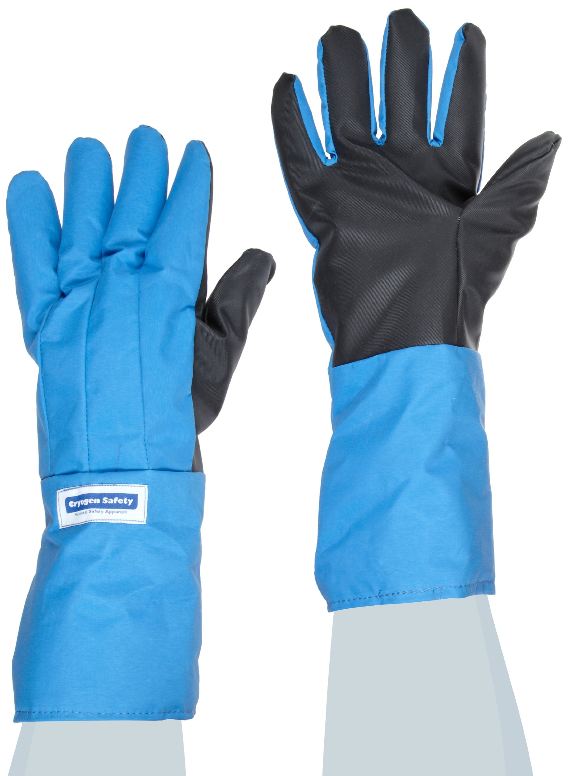 National Safety Apparel G99CRSGPLGMA Nylon Taslan and PTFE Mid-Arm Waterproof Safety Glove with SaferGrip Palm, Cryogenic, 14'' - 15'' Length, Large, Blue