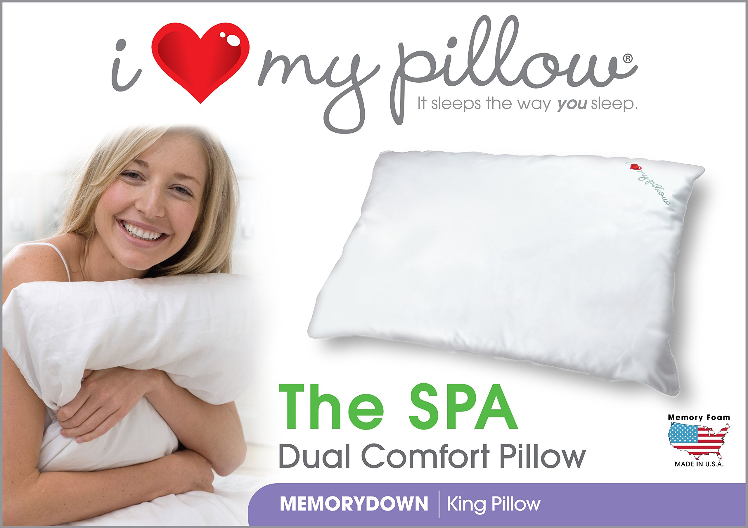 I Love My Pillow - The SPA, Dual Comfort Pillow, King size