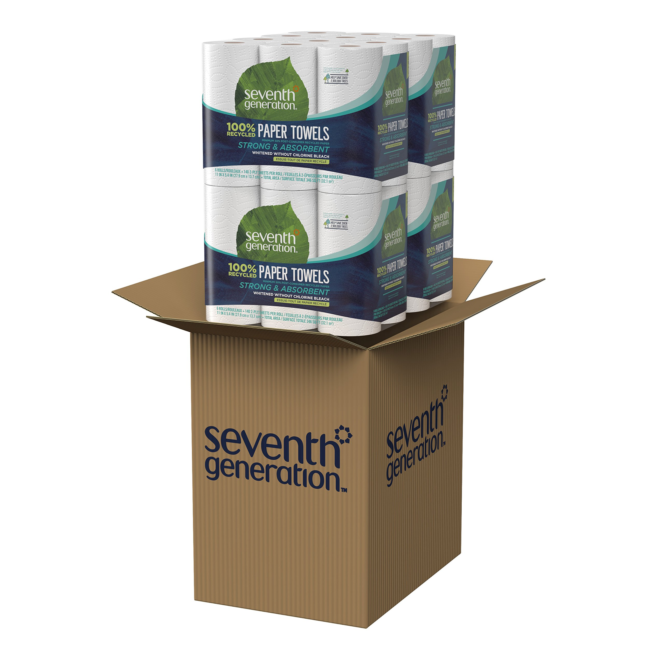 Seventh Generation Paper Towels, 100% Recycled Paper, 2-ply, 6-Count (Pack of 4) by Seventh Generation (Image #13)