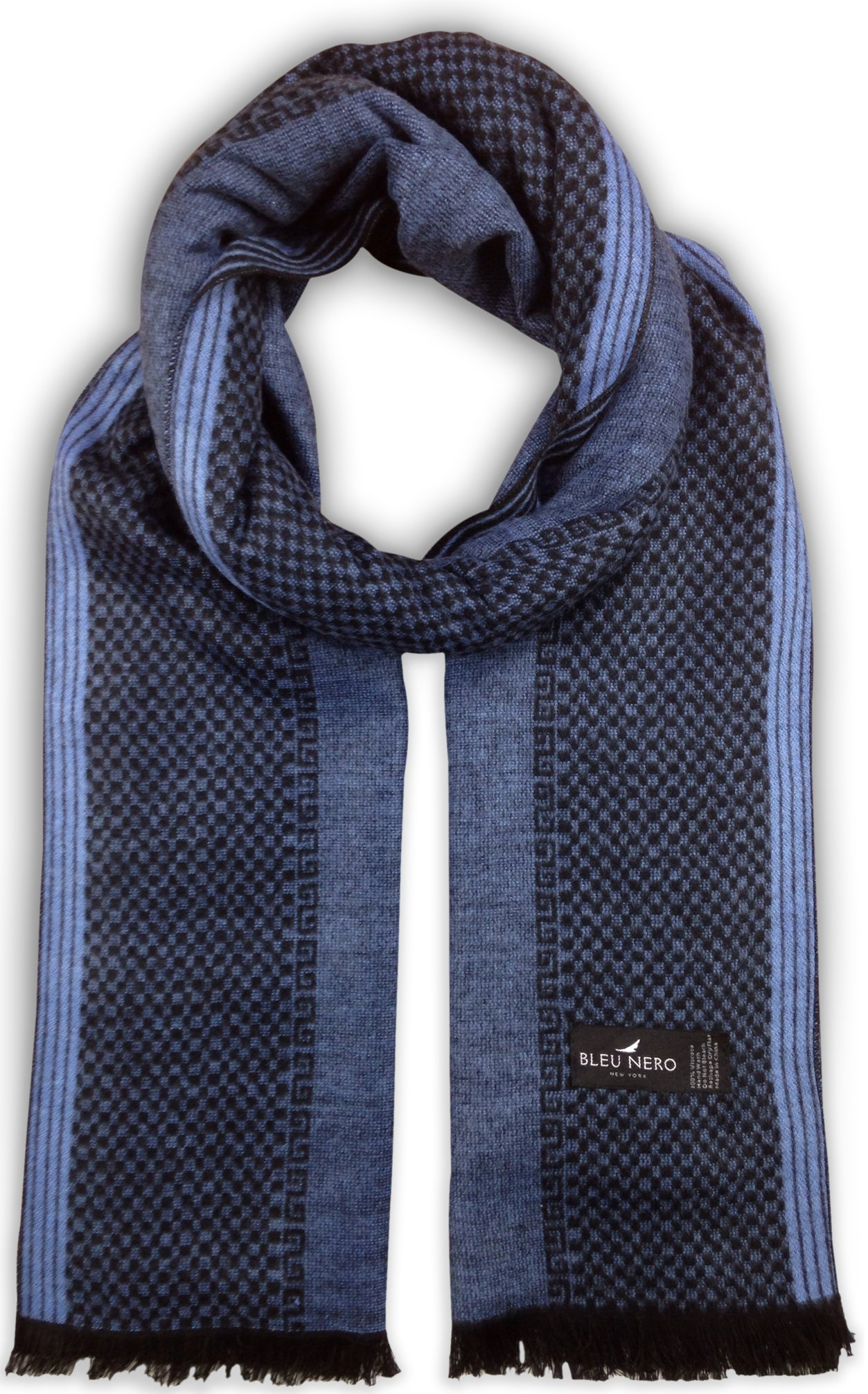 Bleu Nero Luxurious Winter Scarf for Men and Women – Large Selection of Unique Design Scarves – Super Soft Premium Cashmere Feel (Bright Blue/Black Vertical)