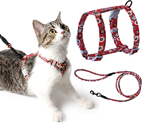 Arnes Gato Ajustable Antiescape con Correa Cuerda Redonda Cómodo Seguridad para Pequeño Grande Gato Cachorros para Caminar Viajes