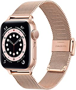 TRUMiRR Rose Gold Band for Apple Watch Series 6 / SE 38mm 40mm Women, Mesh Woven Stainless Steel Watchband Feminine Strap Wristband Replacement for iWatch SE Series 6 5 4 3 2 1 38mm 40mm
