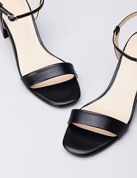 Amazon Brand - find. Women's Block Heel Mule Open-Toe Sandals with Strap Black), US 6
