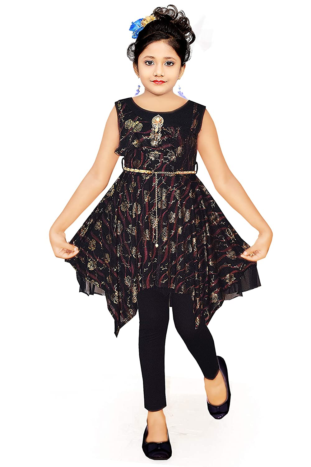 Kd Purple Girls Embossed Print Long Top And Leggings Set Style Dress Set Black Amazon In Clothing Accessories