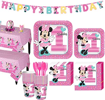 Amazon.com: Party City 1st Birthday Minnie Mouse Party Kit ...