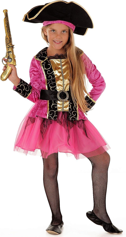 Magicoo Prinzessin Piratenkostüm Kinder Mädchen Gr 110 bis 140 inkl. Piratenkleid, Gürtel & Hut Piratin Fasching Kostüm (110116)