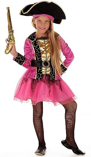 7bc9fcd30f055 Magicoo Piraten-Prinzessin Piratenkostüm Kinder Mädchen pink Pirat-Kostüm  Piratin inkl. Piratenkleid & Hut (110/116)