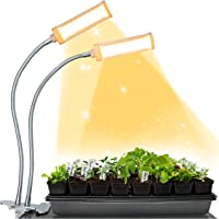 Brite Labs LED Grow Lights for Indoor Plants & Seedlings, Dual Head Plant Growing Lamps with 100 Full Spectrum Bulbs…