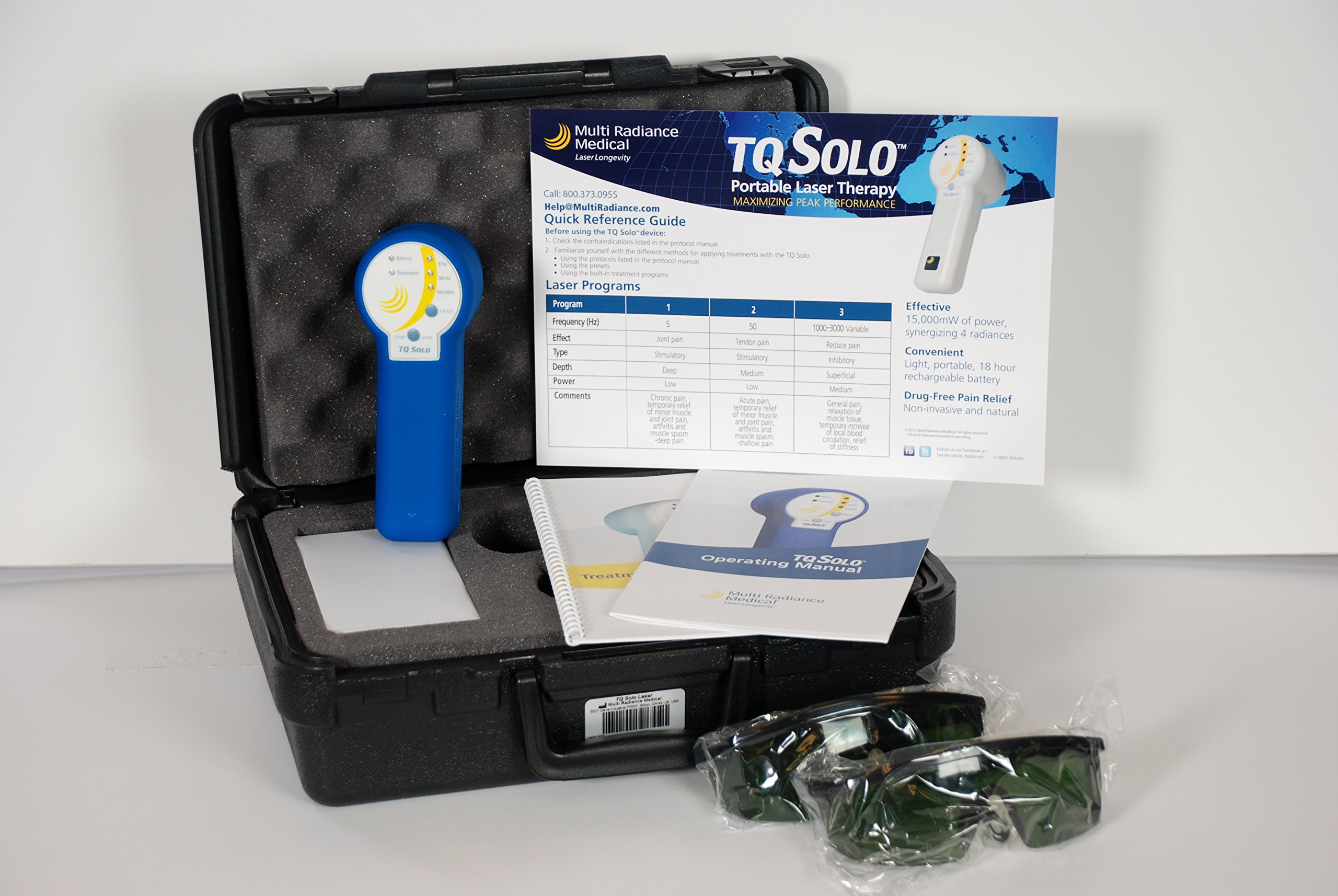 TQ Solo Portable Super Pulsed Laser Therapy - 3 wavelengths, 905nm Super Pulsed Laser, 875nm Infrared Broadband, 640nm Red - 3 pre-programmed modes for fast and easy pain relief anywhere, anytime by Multi Radiance Medical