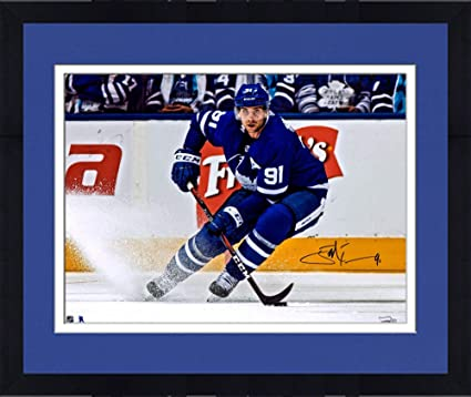 Framed John Tavares Toronto Maple Leafs Autographed 16 quot  x 20 quot  Blue  Jersey Turning Photograph b3d42610b