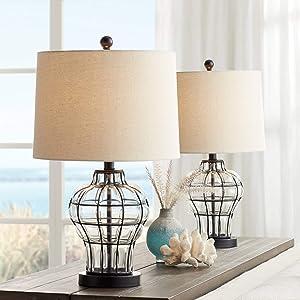 Hudson Modern Table Lamps Set of 2 Dark Bronze Blown Glass Gourd Burlap Fabric Drum Shade for Living Room Bedroom Bedside Nightstand Office Family - 360 Lighting