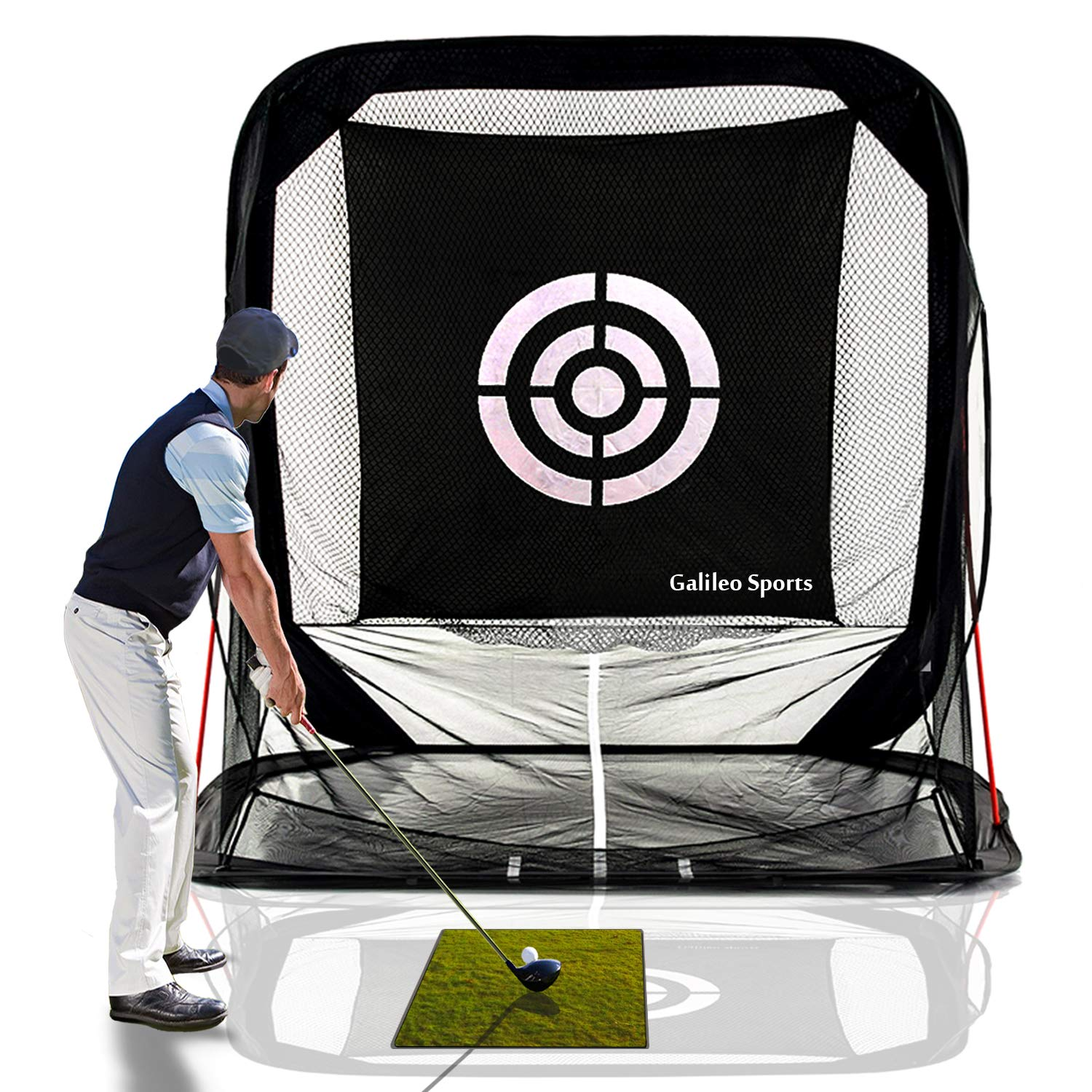 Galileo Golf Nets Golf Hitting Net Training Aid Driving Range 8'(L) X7'(H) X7'(W) Pop Up Automatic Ball Return for Backyard Driving with Target&Carry Bag