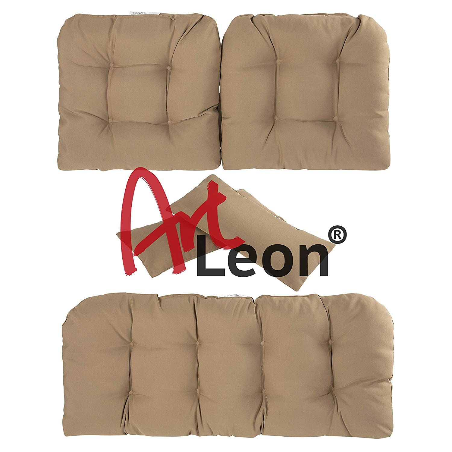 Art Leon Outdoor//Indoor Home Chair Seat Cushions 5 Pieces Seat and Back Cushion Set for Patio Deep Seat,Wicker Loveseat,Settee,Bench Blue and Yellow Floral