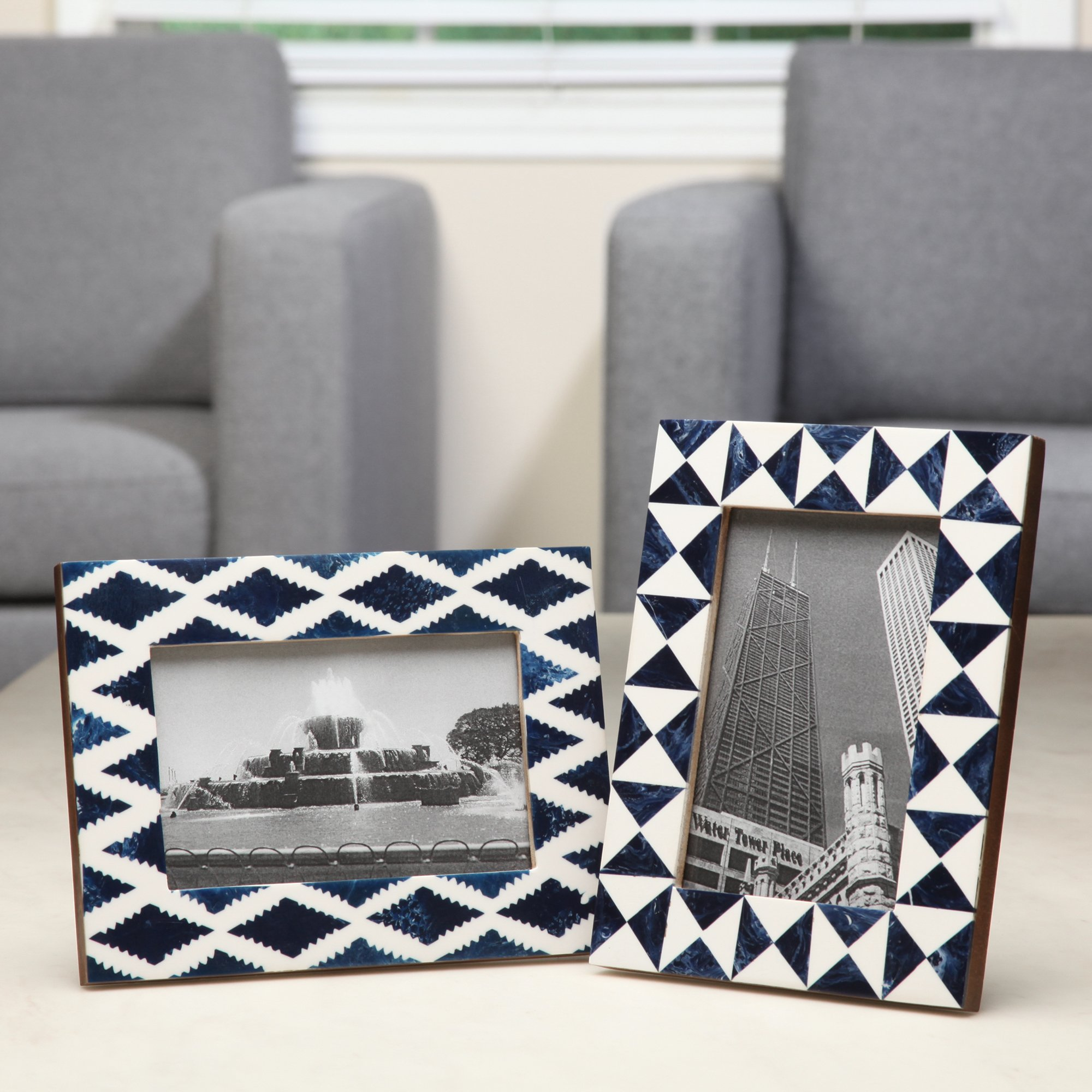 Hosley Indigo Geo Resin Tabletop Picture Frame, 4x6. Ideal Gift for Home, Wedding, Party. Home Office, Spa P2
