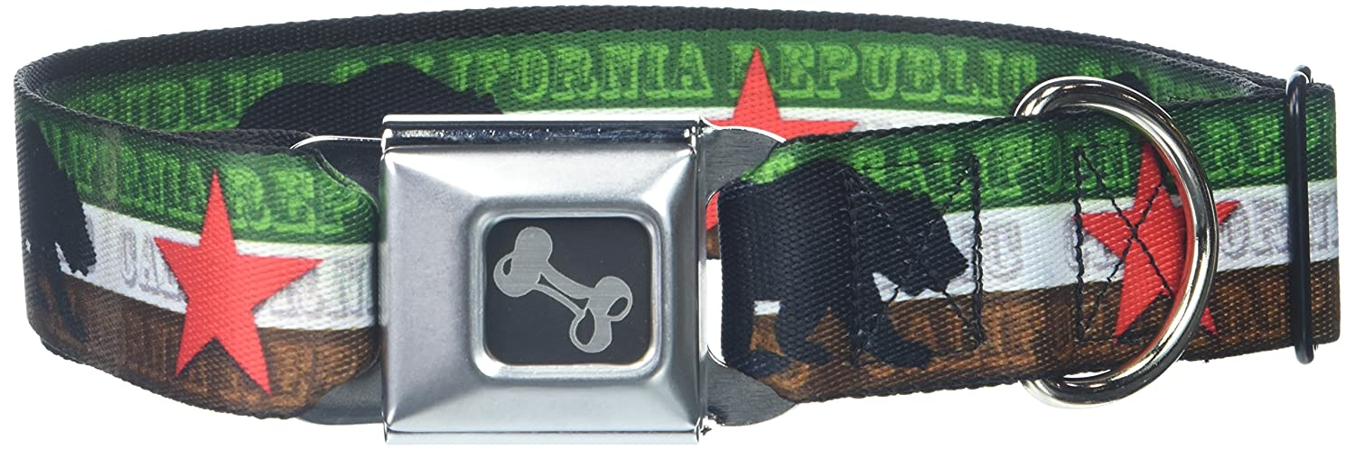 Cali Bear Silhouette & Star CALIFORNIA REPUBLIC Green White Brown Black Red 1.5\ Cali Bear Silhouette & Star CALIFORNIA REPUBLIC Green White Brown Black Red 1.5\ Buckle-Down Seatbelt Buckle Dog Collar Cali Bear Silhouette & Star California Republic Green