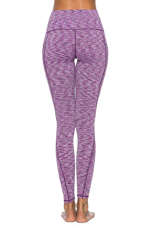 Hibbent Leggings Sportivi Capri Donna Allenamento Pantaloni da Yoga a Vita Alta Opaco Yoga Fitness Spandex Palestra Pantaloni con Tasca