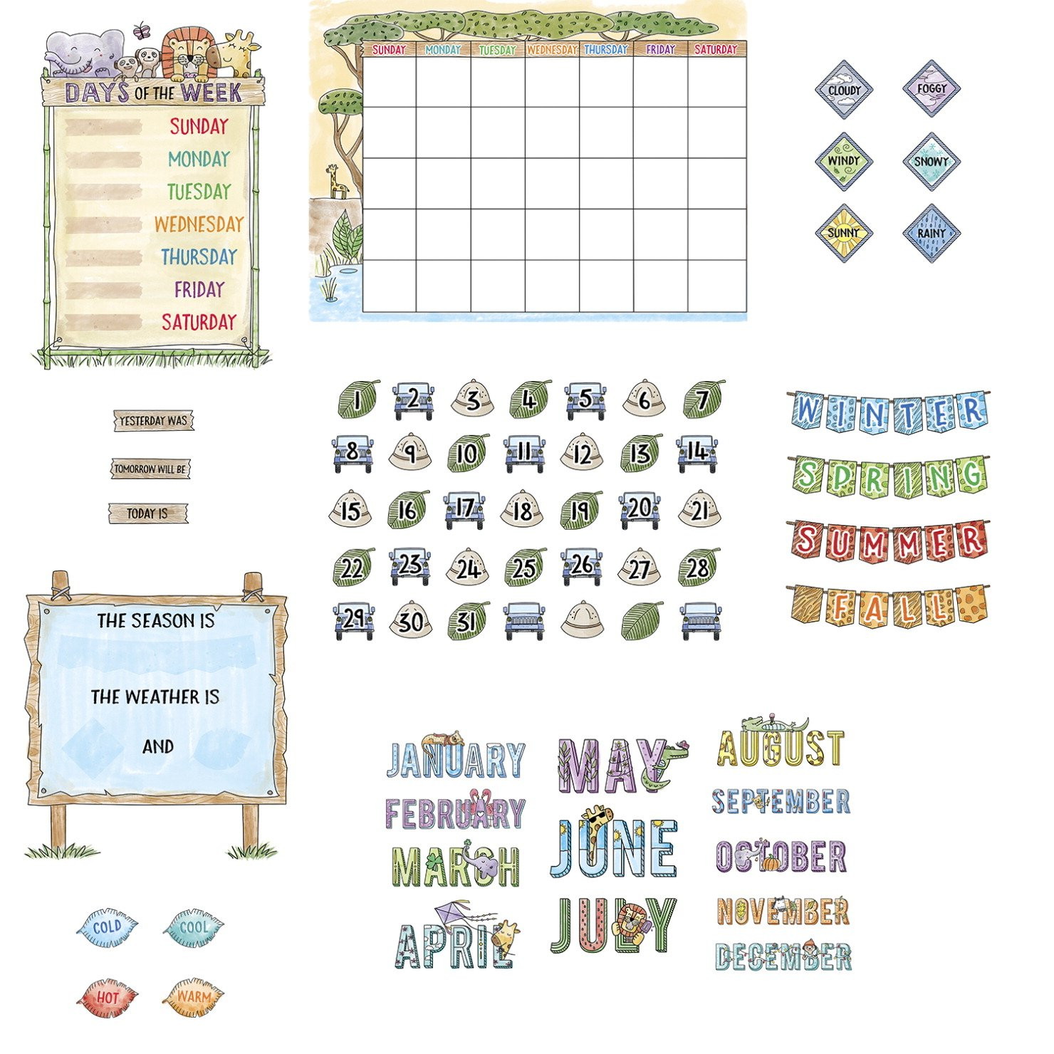 67 Pieces Safari Friends Calendar Bulletin Board Set