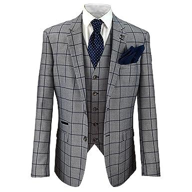 8ab37e962921 Cavani Mens Macy Grey Check Formal Blazer Waistcoat Trouser 3 Piece Wedding  Suit: Amazon.co.uk: Clothing