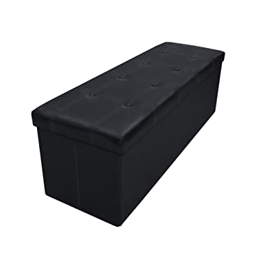 Otto & Ben 45  Storage Folding Toy Box Chest with Memory Foam Seat Tufted Faux Leather Trunk Bedroom Ottomans Bench End Table, 45 Inch, Button Black