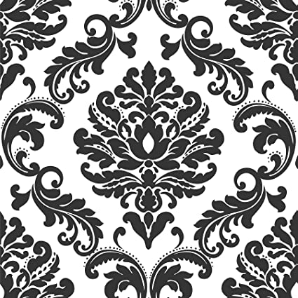 ariel black and white damask peel and stick wallpaper wallpaper