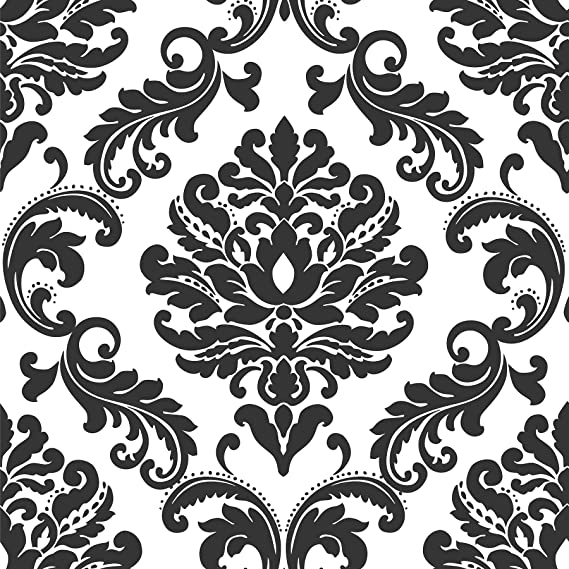 Ariel Black And White Damask Peel Stick Wallpaper