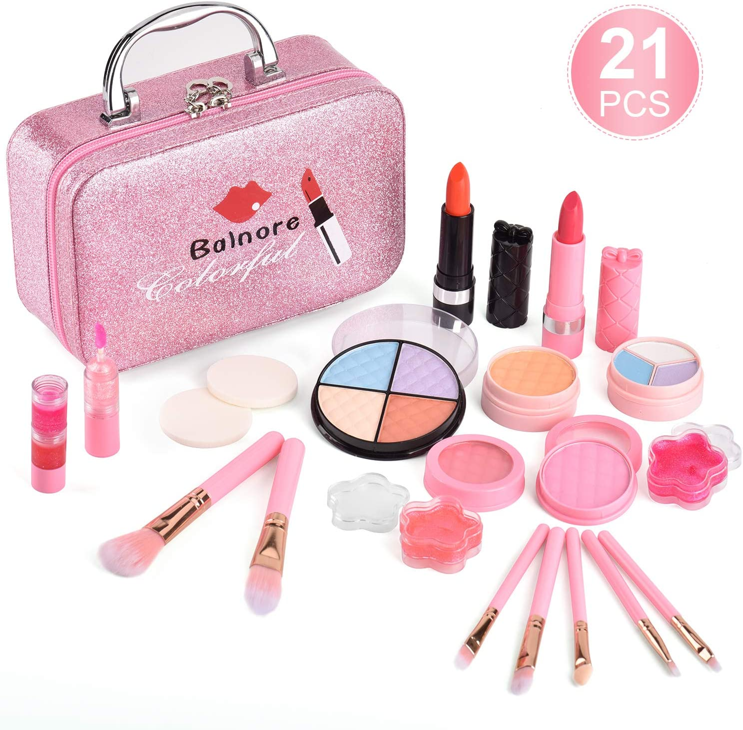 Balnore 21 Pcs Washable Makeup Toy Set, Safe & Non-Toxic,Real Cosmetic Beauty Set for Kids Play Game Halloween Christmas Birthday Party