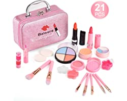 Balnore 21 Pcs Kids Makeup Kit for Girl, Washable Makeup Toy Set, Safe & Non-Toxic,Real Cosmetic Beauty Set for Kids Play Gam