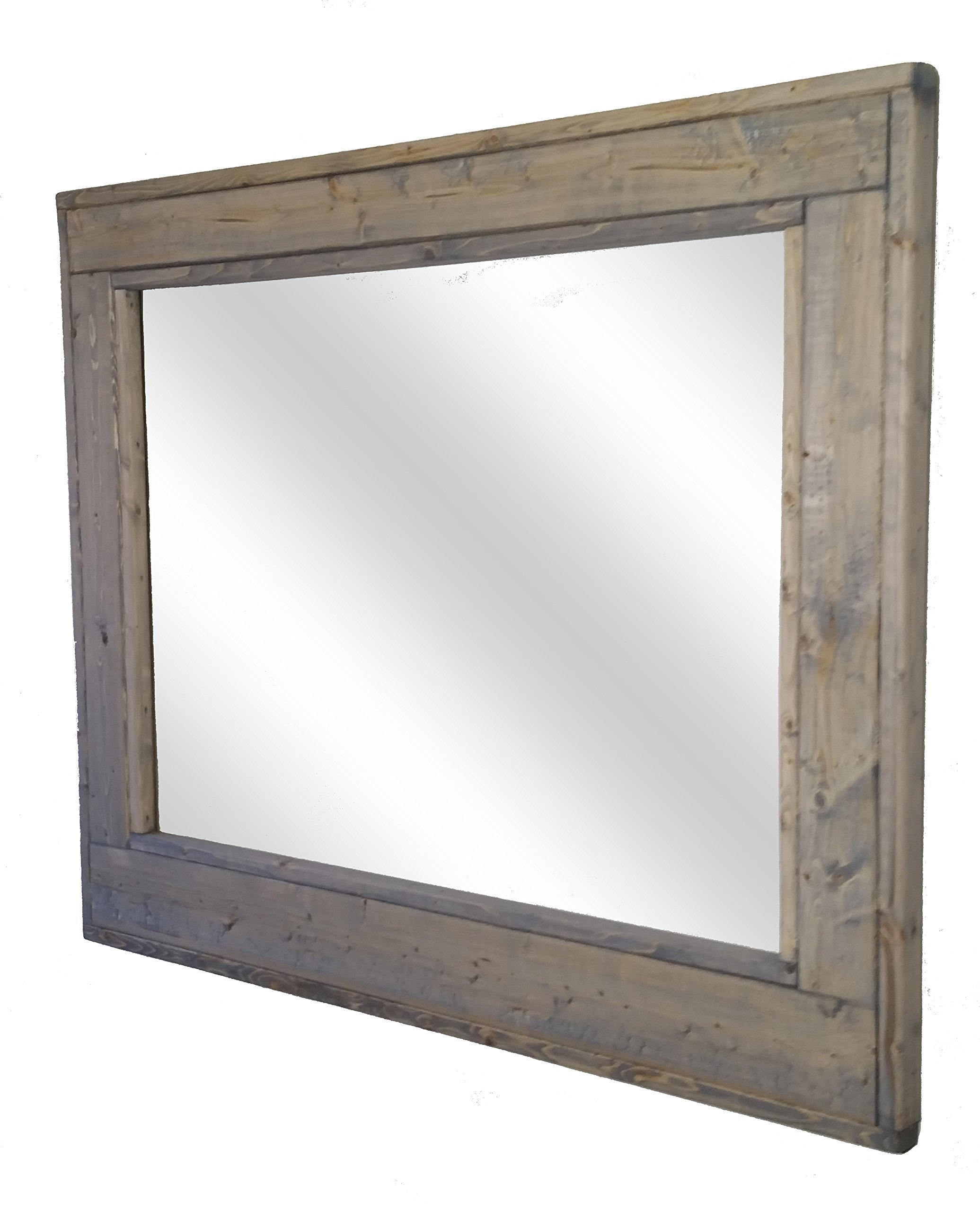 Herringbone 36 x 30 Horizontal Framed Mirror Stained in Weathered Oak - Reclaimed Wood Mirror - Large Wall Mirror - Rustic Modern Home - Home Decor - Mirror - Housewares by Renewed Decor