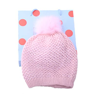 pepper Stunning Womens Winter Dusky Pink Pom Pom Faux Fur Beanie Bobble Hat  with Sparkly Sequin 07854d7ef7