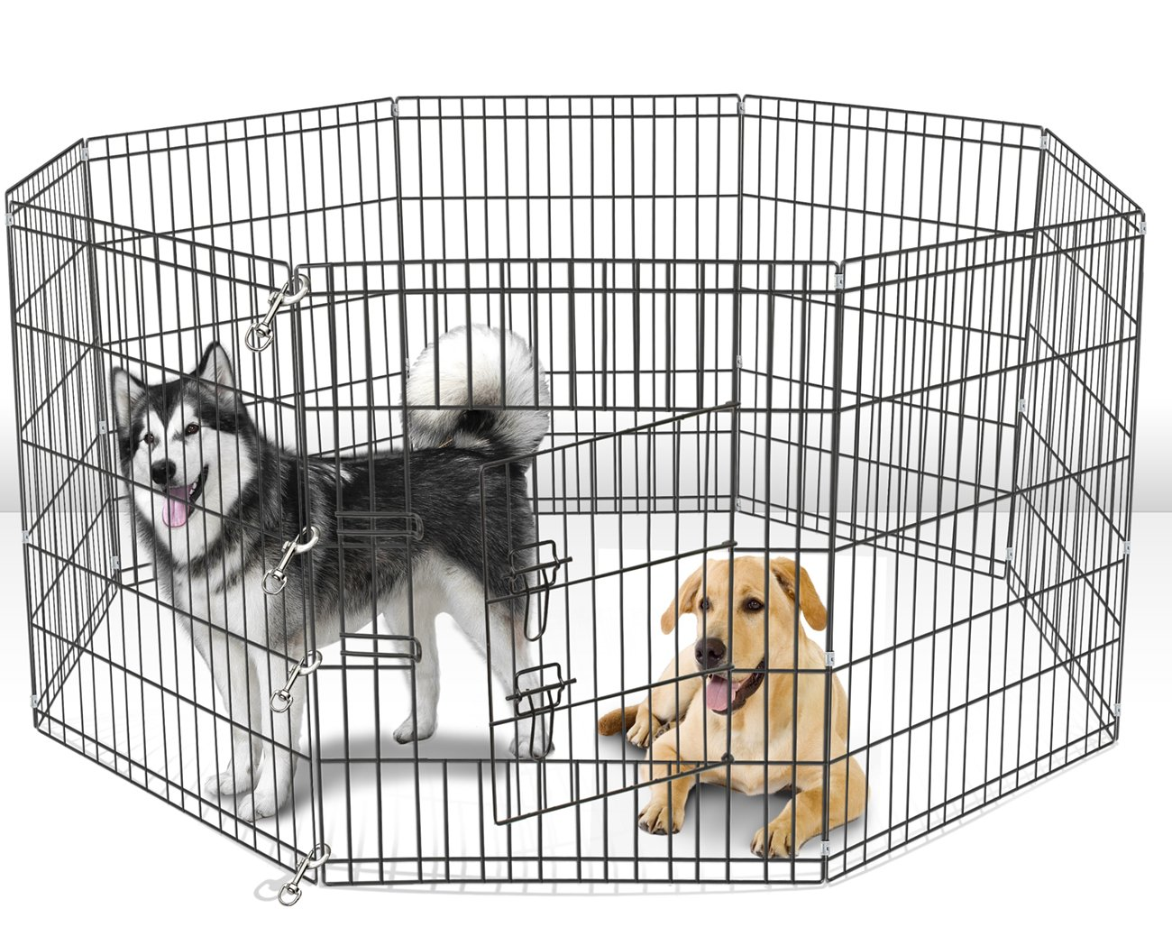 Paws & Pals Dog Exercise Pen Pet Playpens for Dogs - Puppy Playpen Outdoor Back or Front Yard Fence Cage Fencing Doggie Rabbit Cats Playpens Outside Fences with Door - Metal Wire 8-Panel Foldable 3