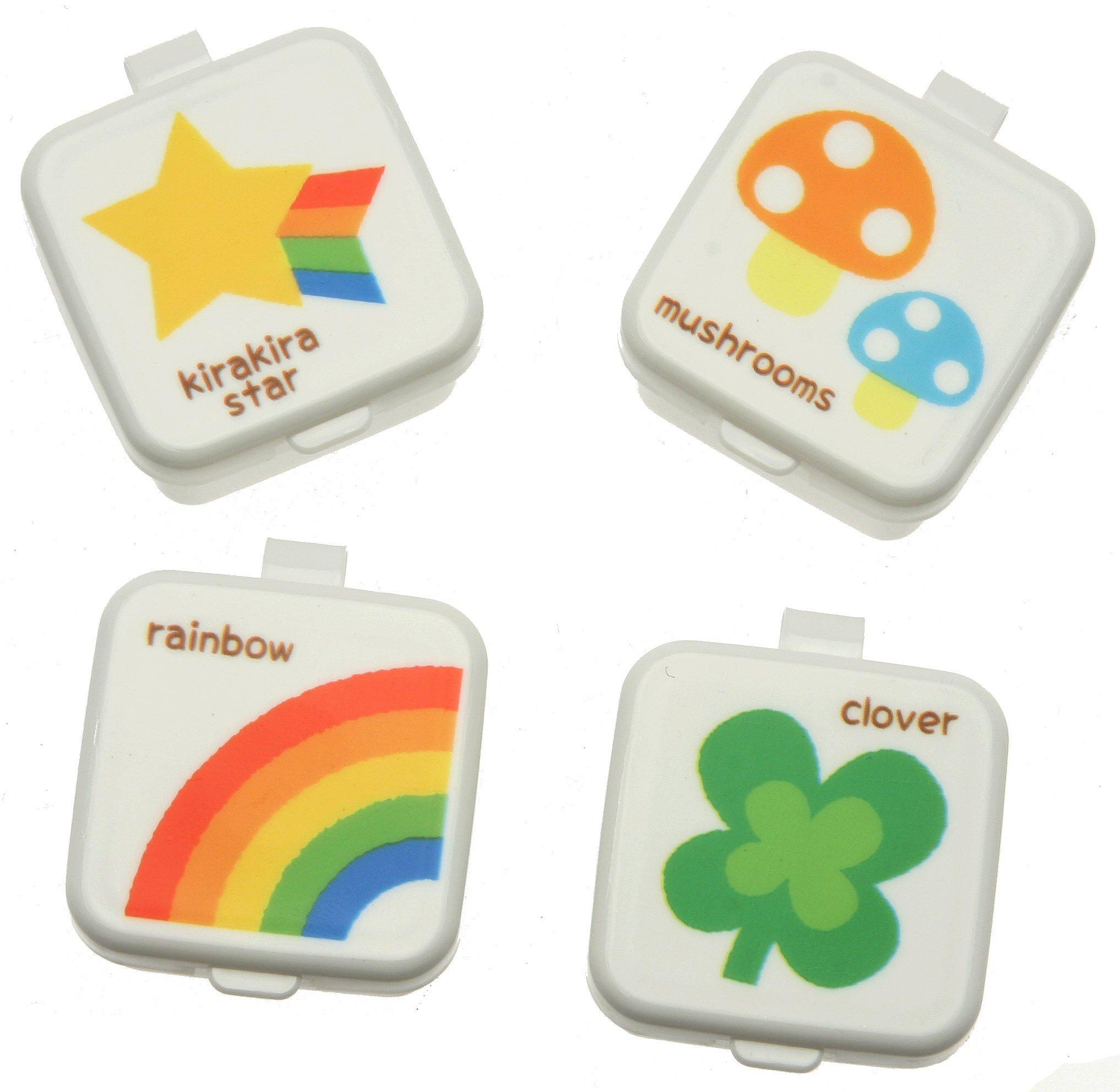 Kotobuki Condiment Containers for Bento Box, Mini, Rainbow and Clover
