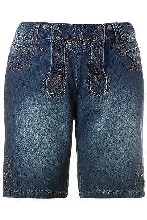 1f8d58286d Ulla Popken Women's Plus Size Dirndl Embroidery Denim Shorts 712349 at Amazon  Women's Clothing store: