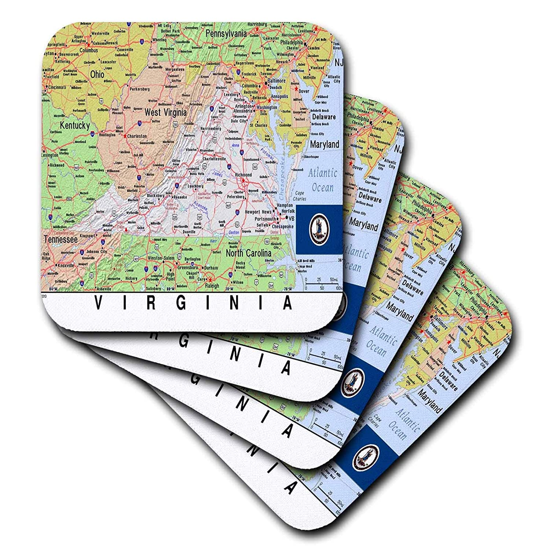 Florene 3dRose レンズアート - Topo Map 州旗 - 国旗付きバージニア地図 - コースター set-of-4-Ceramic cst_291430_3 set-of-4-Ceramic  B07GTBW3LP