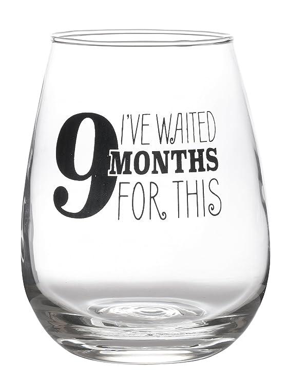 Artisan Owl - Copa de vino sin tallo diseño de búho 9 meses para esto bonito y divertido para embarazo mamá maternidad grande 17oz