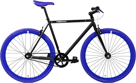 FabricBike- Bicicleta Fixie, piñon Fijo, Single Speed, Cuadro Hi-Ten Acero, 10Kg (M-54, Matte Black & Blue): Amazon.es: Deportes y aire libre