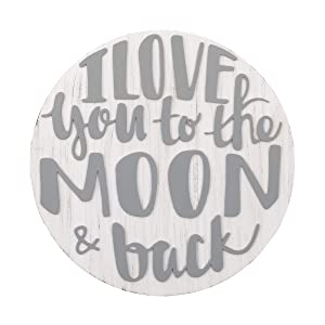 NoJo Love You to The Moon & Back Grey & White Round Wood Nursery Wall Decor, Grey, White