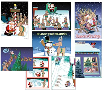 box set of 24 funny christmas cards by stonehouse collection 8 designs 3 cards