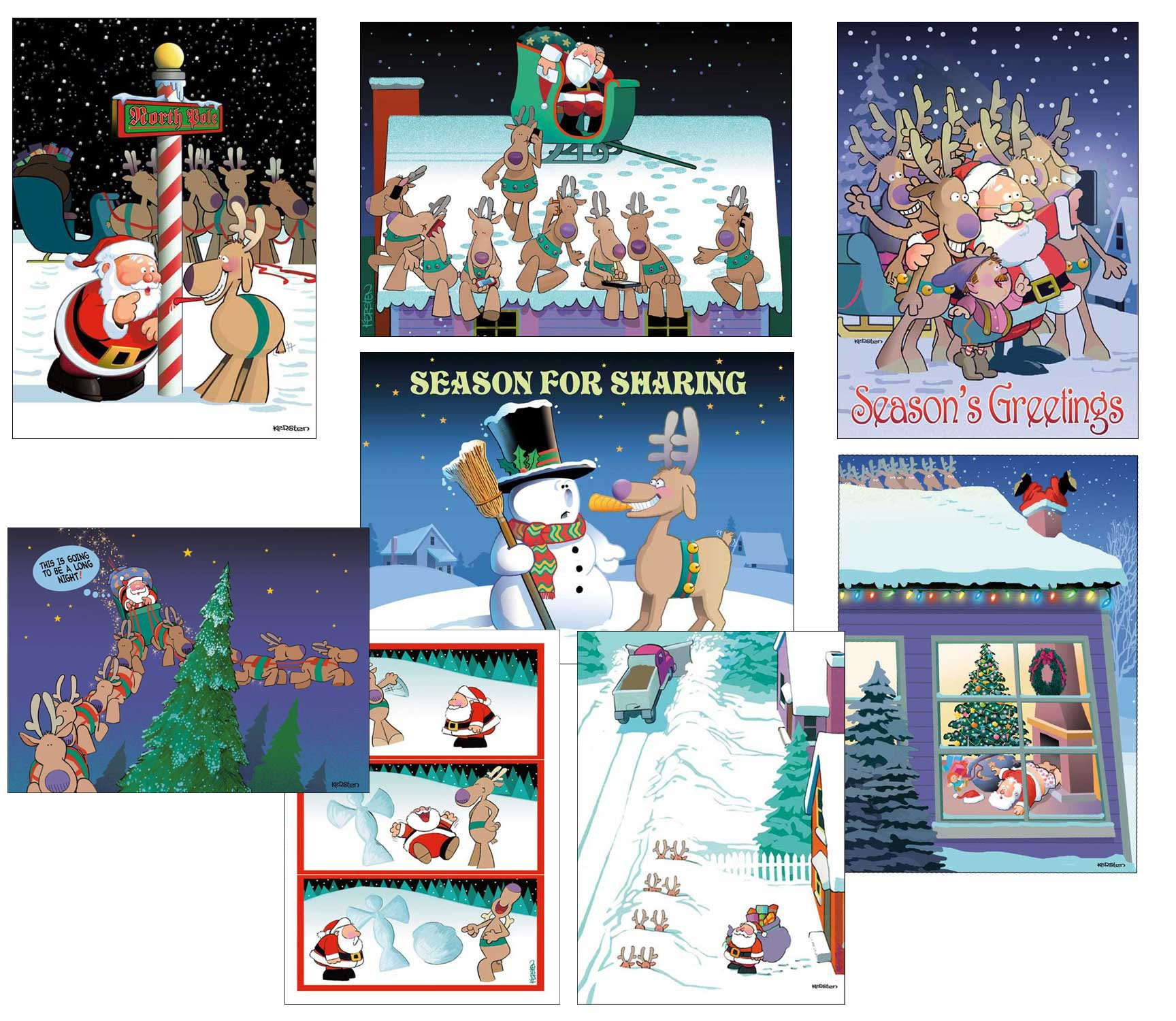 Amazon.com: Snow Angels Christmas Cards - Humorous 18 Boxed ...