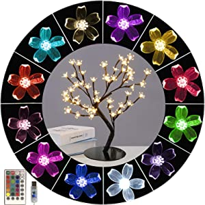 Ypdtacosu Color Changing Cherry Blossom Tree Light with Remote, Colorful Tabletop Tree with 48 LED Lights Lighted Tree-Light Up Christmas Bonsai Tree Table Lamp for Girls Gift,Bedroom,Parties Decor