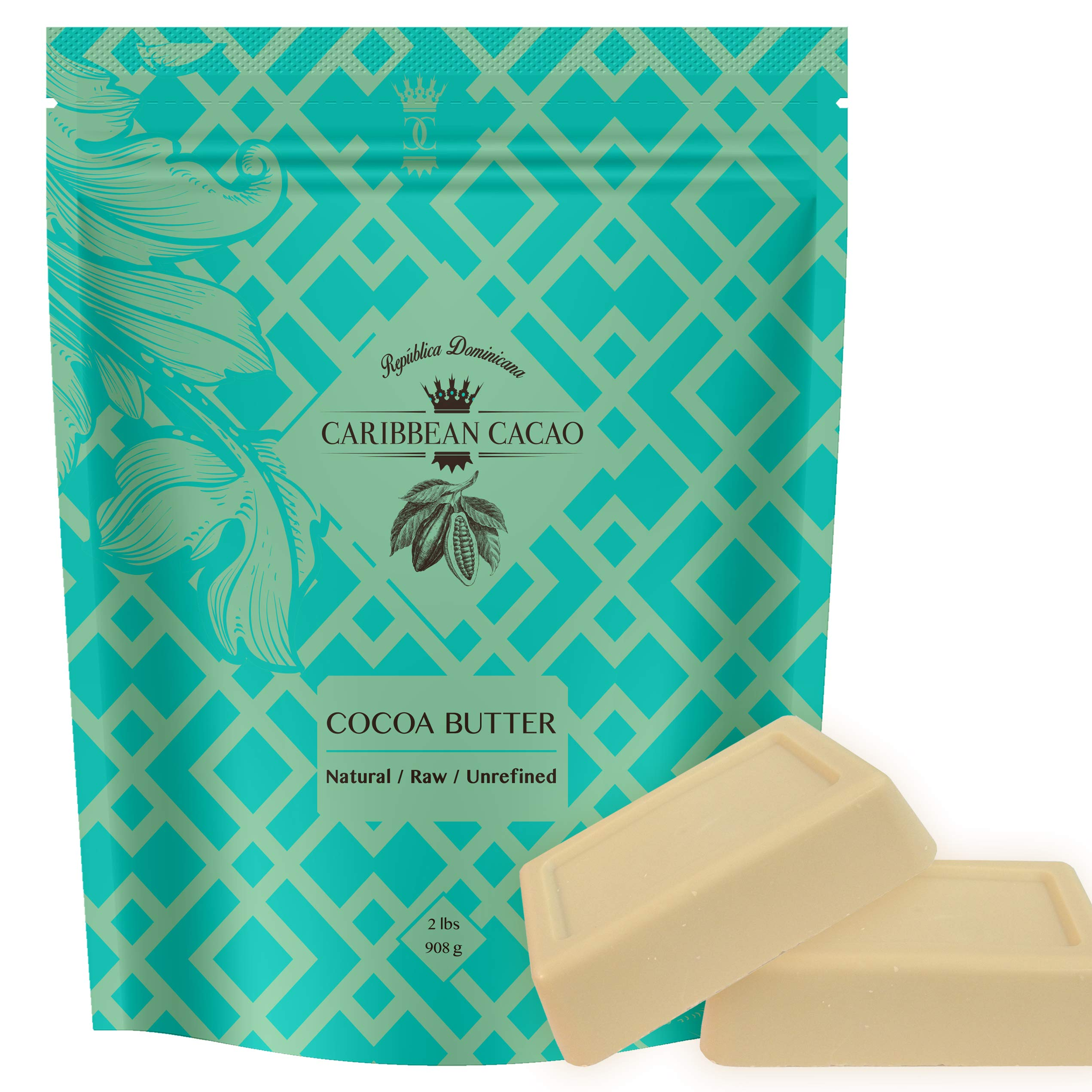 Caribbean Cacao Ultimate Cocoa Butter - Delightfully Rich Scent & Highest Quality, From our exclusive source in the Dominican Republic. 2 LB Body Butter Bar For Stretch Marks, Dry Skin, Acne etc